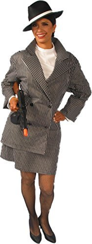 Alexanders Costumes Women's Gangster Female, Black, Large (Female Gangster Costume)