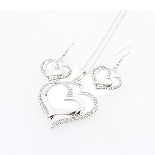 Swyss 1Set Double Heart Pendant Necklace Drop Earrings Set Diamond Classic Romantic Chic Rhinestone Jewelry Hot (Silver) - Pendants Classic Diamond Heart Necklaces