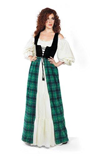 Renaissance Scott Tartan Irish Dress & Chemise Set (L/XL, (Costumes Irish)
