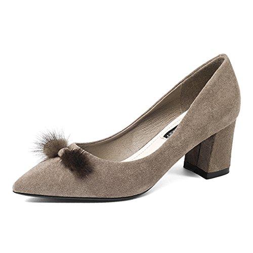 HWF Zapatos para mujer Zapatos de mujer Zapatos de tacón alto Grueso Resorte puntiagudo Boca baja Zapatos individuales Tacón medio Ocupación Viajero ( Color : Negro , Tamaño : 39 ) Caqui