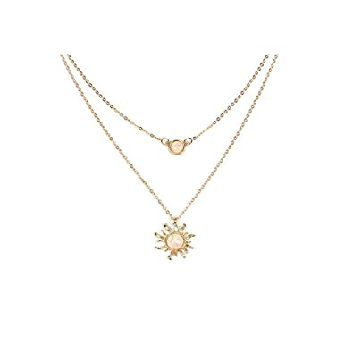 Choker Fashion Clavicular Chain Sun Flower Necklace Opal Necklace Necklace