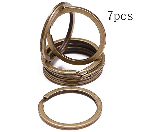- Shapenty 1.2 Inch Antique Bronze Flat Split Key Chain Ring Connector Metal Keychain Keyring Clip Loop Holder (Bronze Tone, 7PCS)