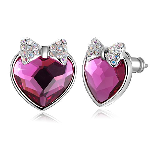Swarovski Element Earrings Bowknot Love Heart Stud Earrings with Swarovski Crystals, Rose Red, Valentines Fashion Gifts