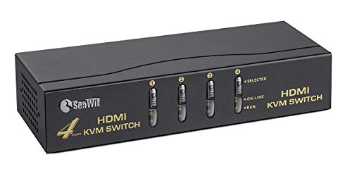 Usb Kvm Cable Keyboard (Sea Wit 4 Port HDMI Switch,KVM Switch with Cable Kit and Supports HDCP 1080p 3D and Auto Scan,for Windows /XP/Vista Linux and Mac-Black)