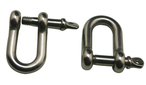 Amanaote 304 Stainless Steel Shackle Standard Size M5 Screw Pin D Anchor Shackle D Ring (Pack Of 10)