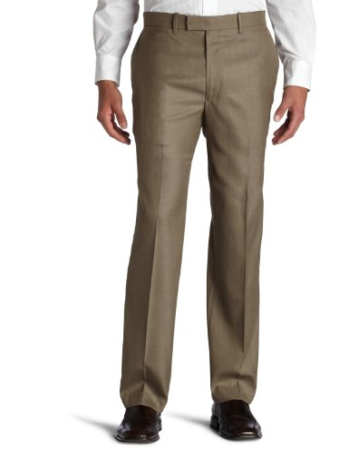 Perry Ellis Men's Portfolio Classic Fit Flat Front Folio Flex Waistband Sharkskin Pant,Rock (Mens Brown Sharkskin)