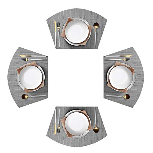 Jutao Round Table Placemats Set of 4 Wedge Washable Table mats for Kitchen Table,Round Table (Sliver)