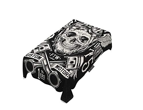 NICOKEE Polyester Decorative Tablecloth Motorcycle Skull with Helmet Rectangle Table Cloth Motor City Wings Rider Goggles Table Cover for Kitchen Dinning Party End Table Protection
