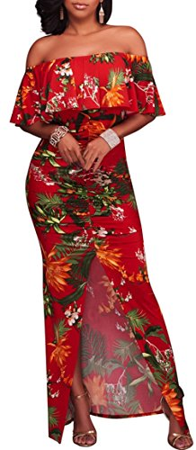 VOGRYE WSailed Flowers Off Shoulder Ruffle Party Homecoming Maxi Dress Clubwear