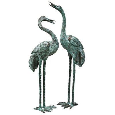 Design Toscano Emerald Verde Large Cranes Cast Bronze Garden Statue Set
