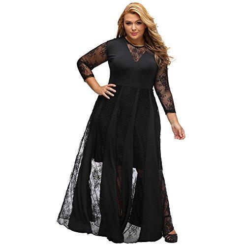 vestido Maxi mujer Noche negro La Lace vestido Larga MEI Vintage fiesta de amp;S elegante Prom 0F4wH
