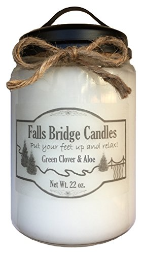 Green Clover Aloe (Green Clover & Aloe, 22 oz. Scented Jar Candle, Soy Blend, Falls Bridge Candles)