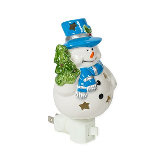 Snowman 3 x 6 Porcelain Electric Wall Swivel Plug-In Night Light