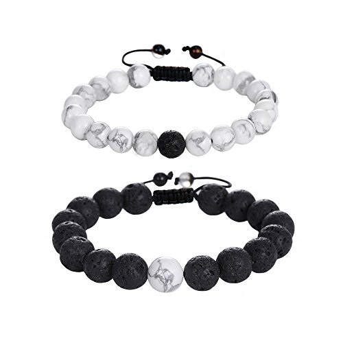 Jade cabbage Distance Relationship Bracelets Couple-2pcs (Black & White Braided) by Jade cabbage