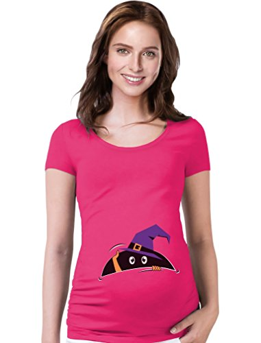 Tstars Halloween Pregnancy Costume Peek a Boo Baby Funny Maternity Shirt X-Large Wow Pink