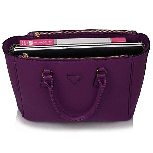 TrendStar Bolso Para Mujer Del Diseñador Bolsos De Las Señoras De Cuero De Imitación 3 Compartimento Totalizador Del Estilo Nueva Celebridad Amplio B - Purple