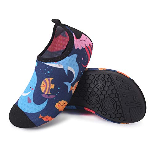 JIASUQI Outdoor Water Shoes Beach Sandals Pool for Kids Girls Boys Blue Dolphin 8-8.5 M Toddler