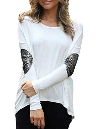Fashion JackenLOVE Sweat Irregulier et Blanc Tops Tunique Jumpers Shirts Col Casual Hauts Manches Longues Automne Blouse Femmes T Tees Shirts Printemps Rond ggXAp