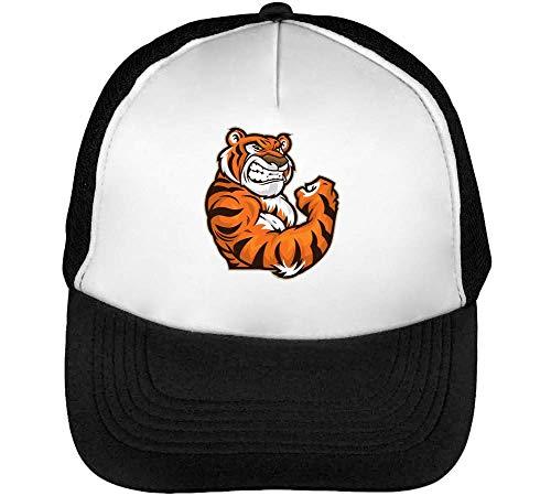 Beisbol Angry Tiger Snapback Gorras Blanco Cartoon Negro Hombre X7rXHq