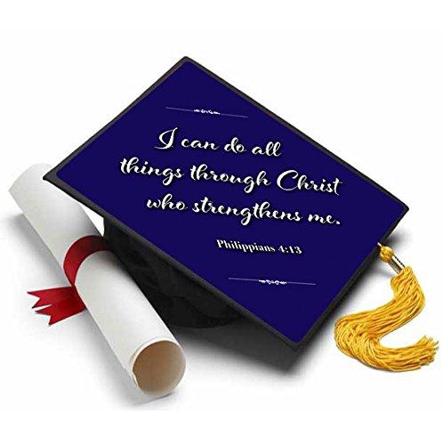 Tassel Toppers Philippians 4:13 Grad Cap Decorated Grad Caps -