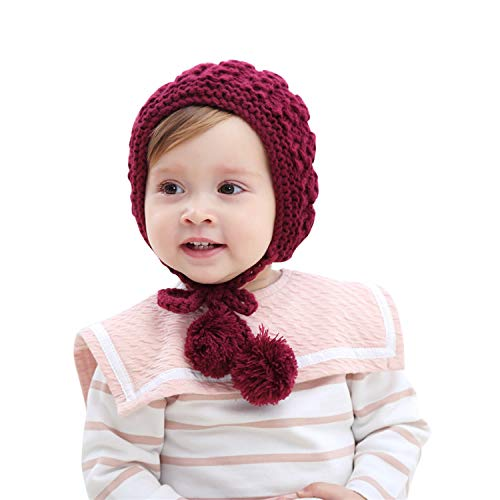 inSowni Winter Warm Crochet Hat Cap Bonnet for Baby Toddler Girl (Wine ()