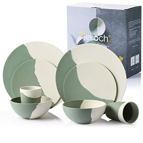 Lekoch 8-Pieces Bamboo Tableware Set,Eco-friendly Dinnerware for 2,Plate & Salad Plate & Soup Bowl&Cup,forPicnic/Camping/BBQ/Backyard Party/Christmas/Gift Packing(Green and White) (Bamboo Dish Set)
