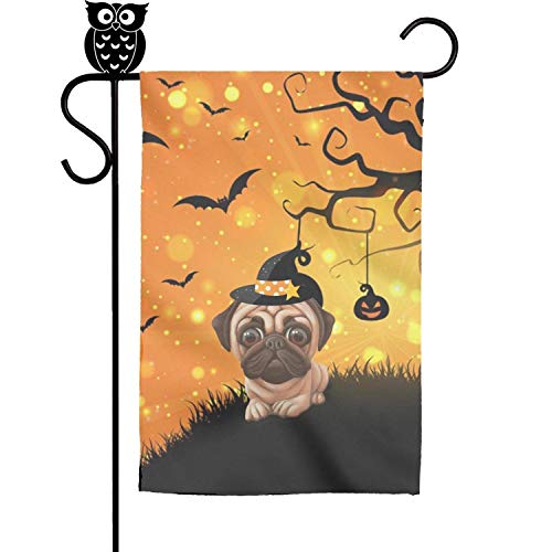 ZhongQi Pug Halloween Bat Pumpkin Garden Flags Yard Flags Outdoor Flags Decorative Flag 12x18 inch ()