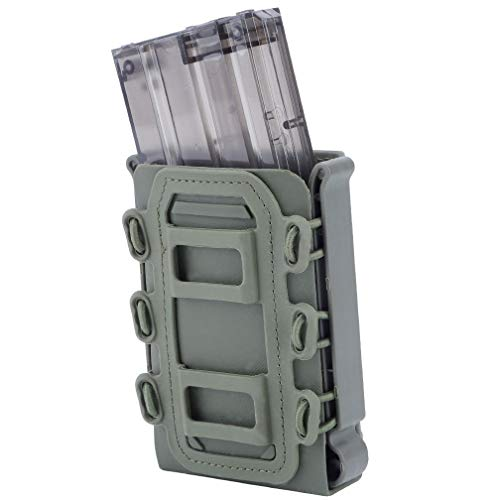 Simways Rifle Mag Pouch Holster 5.56 and 7.62 Soft Magazine Pouches Holder Tactical Mag Carrier with Molle Clips for M4 M16, AR15, AK47 Magazine (OD Green)