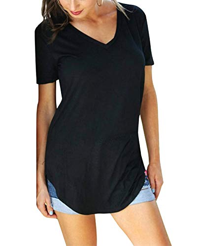 Yidarton Damen Sommer T-Shirt Basic Kurzarm Tops V-Ausschnitt Lockere Oberteile Solide Casual Shirts
