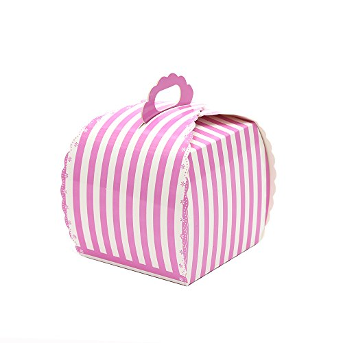 Ezek Colored Stripes Treat Boxes with Handle for packaging Candies ,Cookies, and Other Gift,etc. in Picnic ,Party ,Birthdays, Holidays, Weddings and other Events. Pack of 10