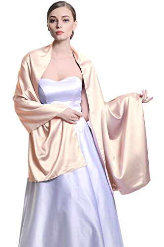 Women's Bridal Party Evening/Wedding Silk Satin Shawl Wrap 25 Colors S58 Champagne