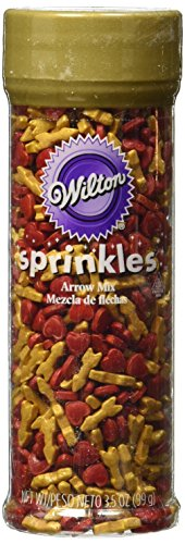Wilton Valentine's Red Hearts with Gold Arrow Sprinkles Mix, Multicolor