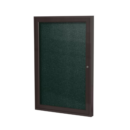 Ghent 36''x36''  1-Door Outdoor Enclosed Vinyl Bulletin Board, Shatter Resistant, with Lock, Bronze Aluminum Frame - Ebony (PB13636VX-183), Made in the USA by Ghent