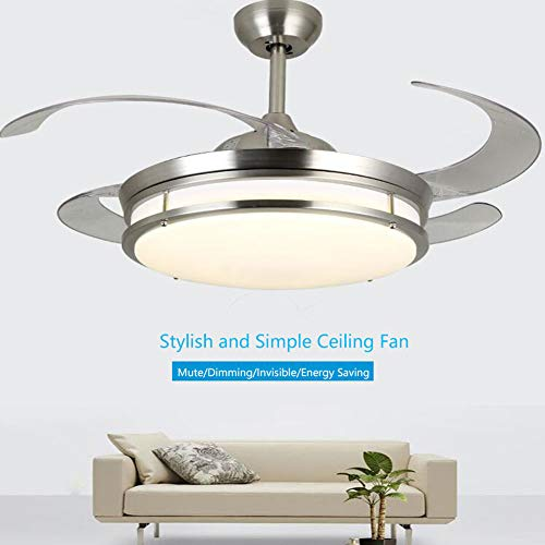 Fandian 42 Crystal Ceiling Fans with Lights 4 Retractable Blades, 3 Color Changes, Chrome Chandelier Fixtures, Silent Motor with Remote Control Chrome