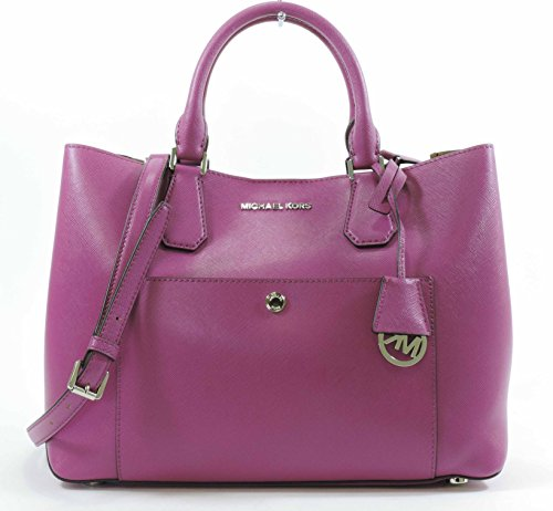 Michael Kors Fuschia Luggage Large Greenwich Leather Tote Grab Bag Purse by Michael Kors (Image #1)