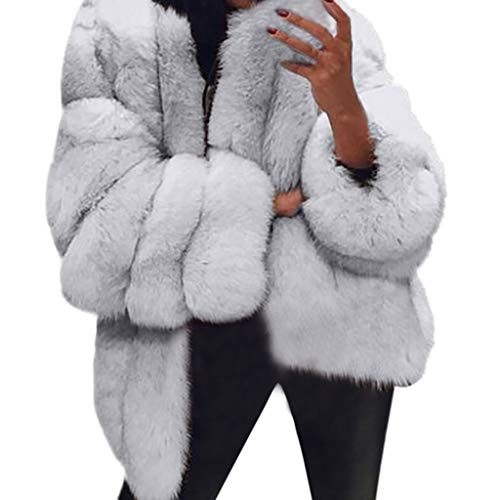 Winter Warm Faux Fur Coat Chic Jacket Cardigan Outerwear for Party Club Cocktail (Rabbit 3/4 Coat Fur Genuine)