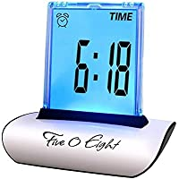 FIVE 0 EIGHT Digital Alarm Clock Small Table Desk Clock with 3.3'' LCD & 7 Color Changing