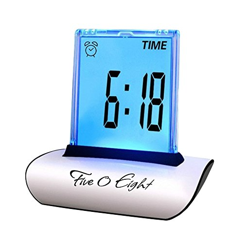 FIVE0EIGHT Digital Alarm Clock Small Table Desk Clock with 3.3 LCD Display and 7 Color Changing for Kids, Bedroom, Travel