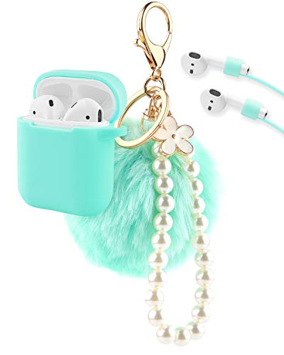 Airpods Case, KMMIN Airpods Accessories Premium Silicone Case Cover and Skin with Airpods Ear Hook Grips/Anti-Lost Cute Fluffy Pompom Keychain for Apple Airpod Charging Case 1&2-Mint Green