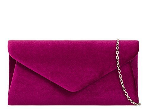 Womens Ladies Faux Suede Foldover Flap Prom Party Evening Dressy Occasion Hand Clutch Bags - H91 Burgundy