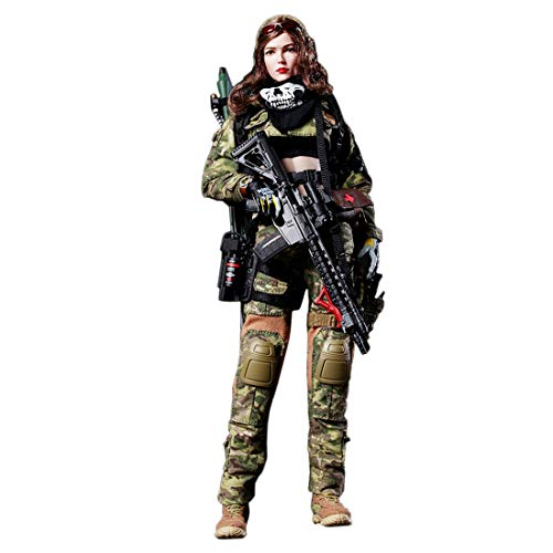 RuiyiF Female Action Figures 12 Inch with Accessories 1:6 Scale, Army Action Figures Playset for Kids Adults (Angel)
