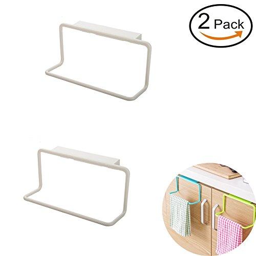 Plastic Towel Ring (Vivian Over Cabinet Towel Ring Rack Bathroom Kitchen Cupboard Hanging Holder Set of 2 PCS (White))