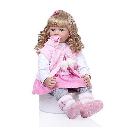 Zero Pam 24inch Blonde Reborn Toddler Girl , Princess Girl with Gold Hair and Blue Eyes, Cute Realistic Caucasian Girl and Beautiful Outfit (Best Hair For Blue Eyes)