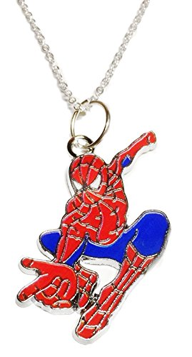 Main Street 24/7 Spider-Man in Action Enamel Metal Pendant Necklace]()