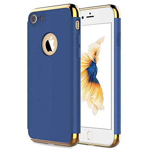 Compatible for Apple iPhone 8 and iPhone 7 4.7 Inch,Hard Case Coated Non Slip Matte Surface with Electroplate Frame Hard Back Shockproof Drop Protection-Blue