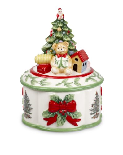 Spode Christmas Tree Sculpted Christmas Tree Shaped Covered Box, 7-Inch
