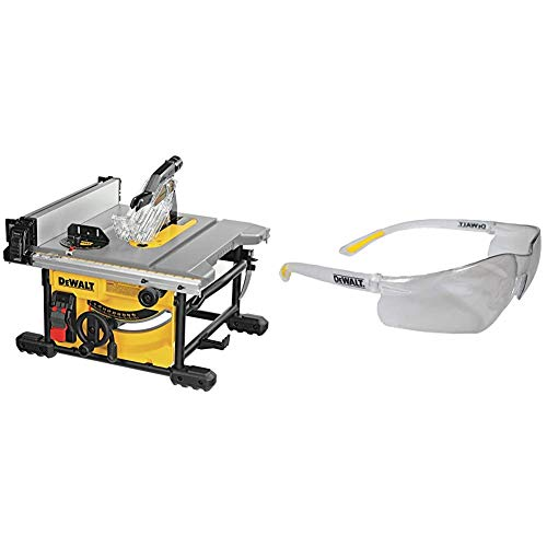 DEWALT Table Saw for Jobsite, Compact, 8-1/4-Inch with Lightweight Protective Safety Glasses (DWE7485 & DPG52-1C)