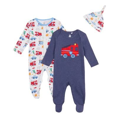 Childrens Kids Baby Boys' Fire Engine Sleepsuits Tiny Baby to 18 Months Pack of Two, Navy bluezoo