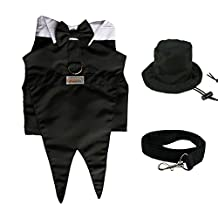 Pawow 3in1 Dog Groom Tuxedo Suit Pet Puppy Costume with Formal Tails, Bow Tie, Top Hat, Leash, Black, X-Small