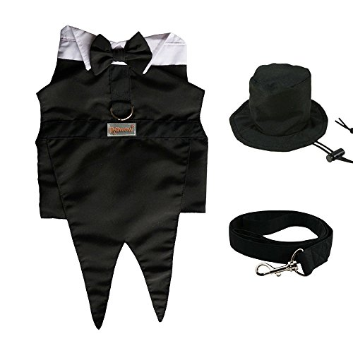 Pawow 3in1 Dog Groom Tuxedo Suit Pet Puppy Costume with Formal Tails, Bow Tie, Top Hat, Leash, Black, Small